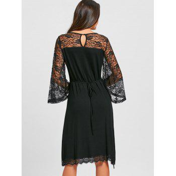 Lace Up Sheer Flare Sleeve Dress - BLACK XL