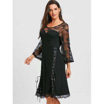 Lace Up Sheer Flare Sleeve Dress - BLACK 2XL