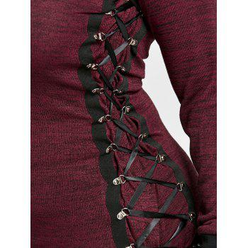 Plus Size Lace Up Ringer Sweatshirt - DEEP RED XL