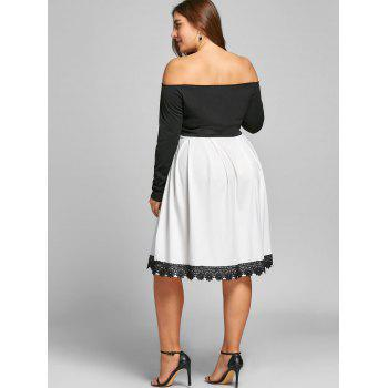 Plus Size Two Tone Fit and Flare Dress - WHITE/BLACK XL