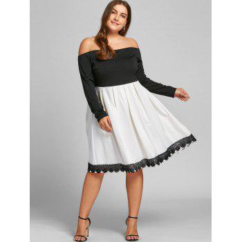 Plus Size Two Tone Fit and Flare Dress - WHITE/BLACK 4XL