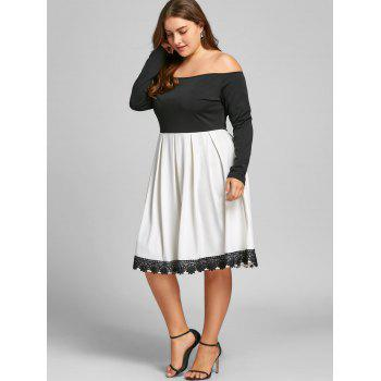 Plus Size Two Tone Fit and Flare Dress - WHITE/BLACK 5XL