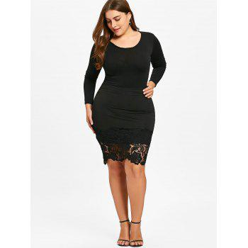 Plus Size Lace Trim Bodycon Skirt - BLACK BLACK