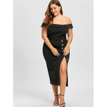 Plus Size Off The Shoulder High Slit Pencil Dress - BLACK 4XL