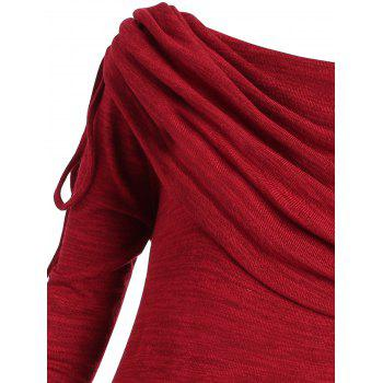 Plus Size Ruched Long Foldover Collar Top - WINE RED XL