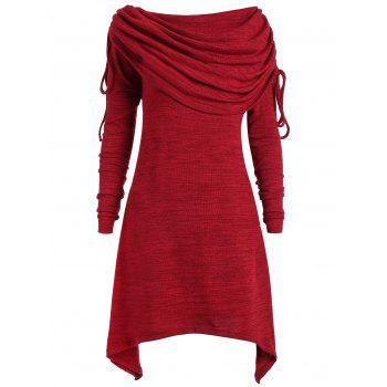 Plus Size Ruched Long Foldover Collar Top - WINE RED WINE RED