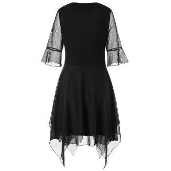 Bell Sleeve Lace Up Handkerchief Dress - BLACK BLACK