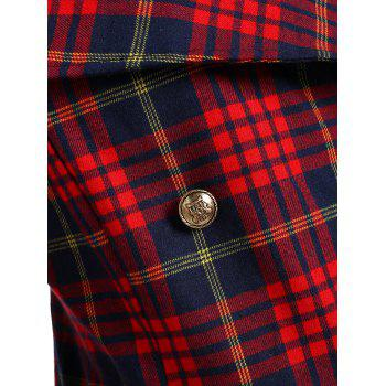Double Breasted Plus Size Plaid Coat - CHECKED XL