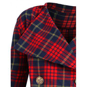 Double Breasted Plus Size Plaid Coat - CHECKED 3XL