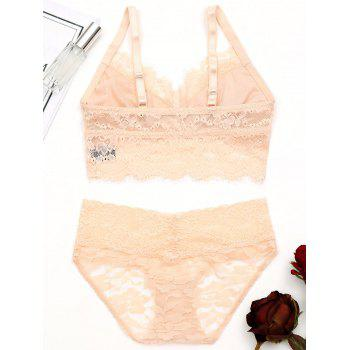 Lace Eyelash See Through Bralette Set - COMPLEXION 80B