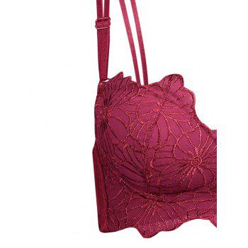 Double Strap Embroidered Underwire Bra Set - WINE RED 70A