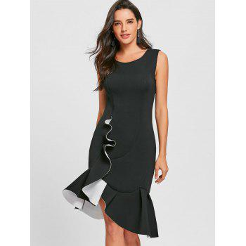 Sleeveless Flounced Mermaid Dress - BLACK BLACK
