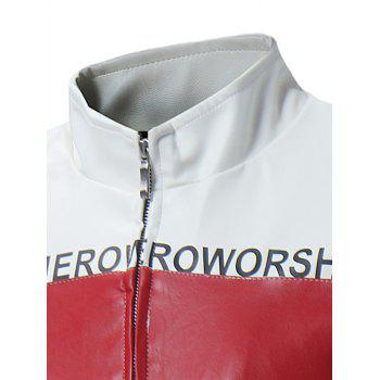 Graphic Color Block Zip Up PU Leather Jacket - WHITE WHITE