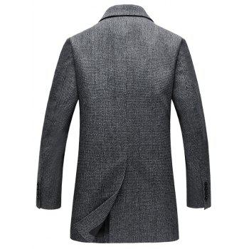 Single Breasted Longline Woolen Blend Coat - GRAY GRAY