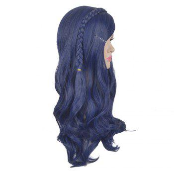 Descendants Evie Cosplay Side Bang Long Braided Wavy Synthetic Wig For Children - BLUE