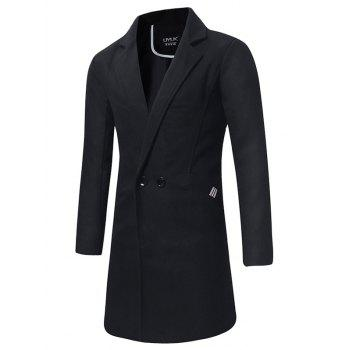 Longline Double Breasted Peacoat - BLACK BLACK