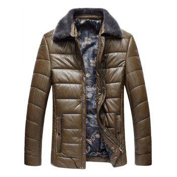 Faux Fur Collar Zip Up PU Leather Padded Coat - KHAKI KHAKI