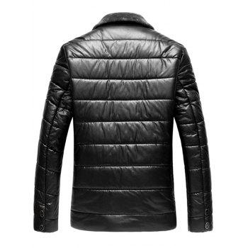 Faux Fur Collar Zip Up PU Leather Padded Coat - BLACK 3XL