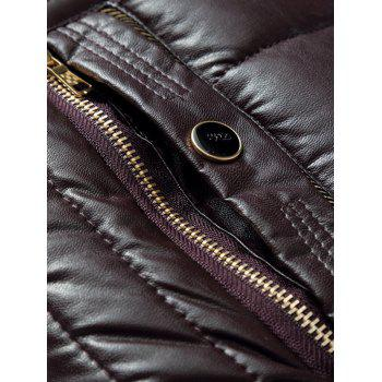 Faux Fur Collar Zip Up PU Leather Padded Coat - WINE RED WINE RED
