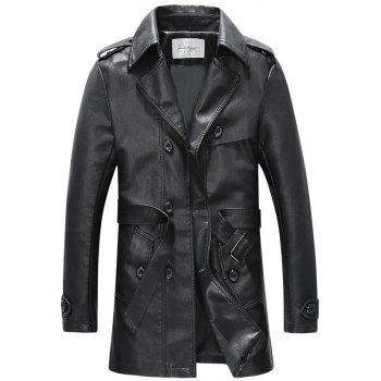 Belt Design Double Breasted PU Leather Trench Coat - BLACK BLACK