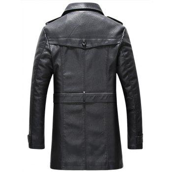 Belt Design Double Breasted PU Leather Trench Coat - BLACK 3XL