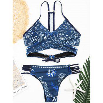 Low Waisted Floral Wrap Bikini Swimsuit - CERULEAN CERULEAN