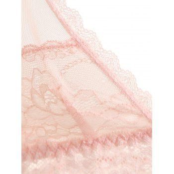 Sheer Mesh Slip Babydoll with Lace - LIGHT PINK L