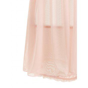 Sheer Mesh Slip Babydoll with Lace - LIGHT PINK M