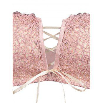 Padded Lace Bra with Lace-up Detail - LIGHT PINK 70B