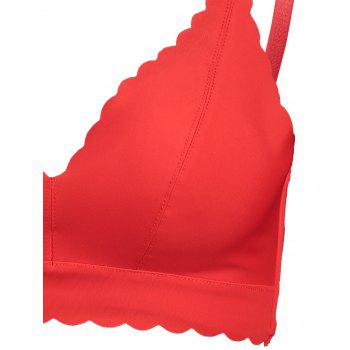 Padded Scallop Trim Seamless Bra - RED RED