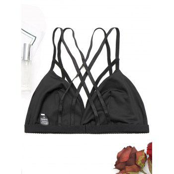 Strappy Embroidery Caged Bralette - BLACK S