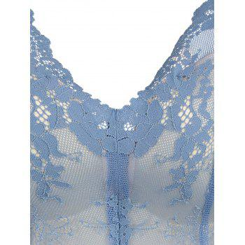 Push Up Lace Plunge Neck Soutien-gorge - Bleu 75B