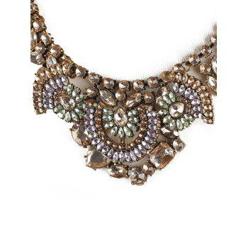 Alloy Faux Crystal Teardrop Statement Necklace - COPPER COLOR