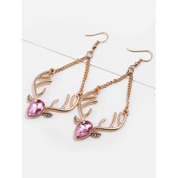 Faux Crystal Christmas Reindeer Chain Earrings - PINK