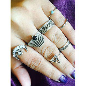 Tribal Moon Star Geometric Finger Ring Set - SILVER SILVER