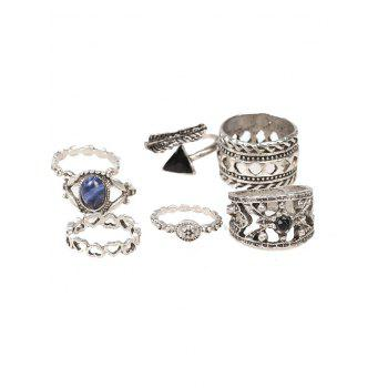 Vintage Heart Flower Feather Cuff Ring Set -  SILVER
