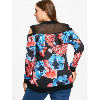 Cold Shoulder Floral Print Plus Size Jacket - FLORAL 2XL