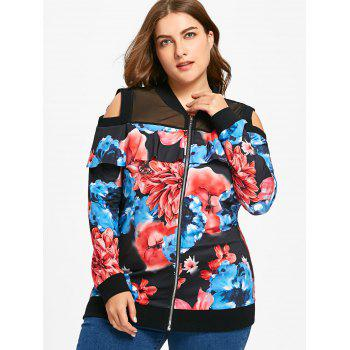 Cold Shoulder Floral Print Plus Size Jacket - FLORAL 3XL