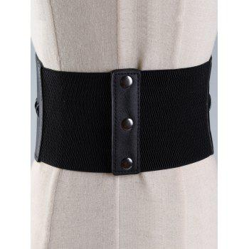 Vintage PU Leather High Waist Corset Belt - BLACK