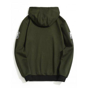 Graphic Flocking Hoodie - ARMY GREEN 4XL