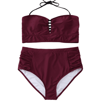 Halter High Waisted Plus Size Bikini - WINE RED 3XL
