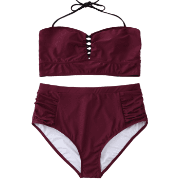 Halter High Waisted Plus Size Bikini - WINE RED 2XL