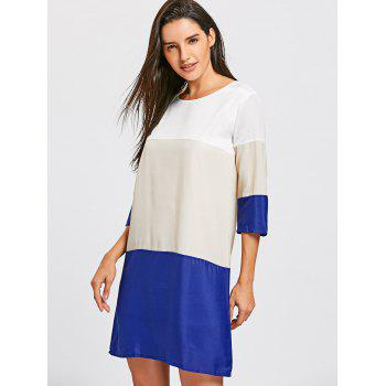 Casual Scoop Neck Color Block 3/4 Sleeve Women's Dress - COLORMIX M