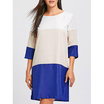 casual scoop neck color block 3/4 sleeve women's dress