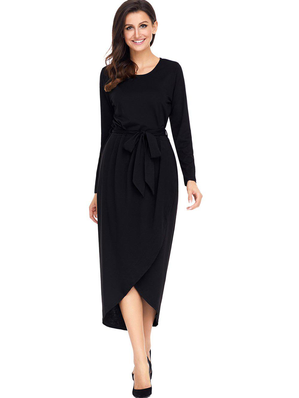 Long Sleeve Belted Tulip Dress - BLACK XL