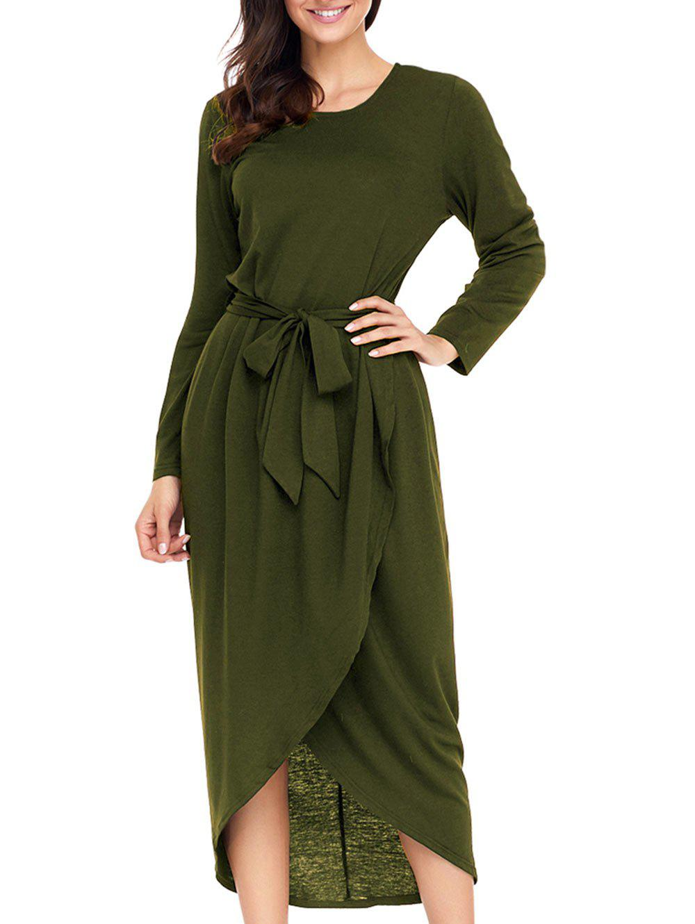 Long Sleeve Belted Tulip Dress - ARMY GREEN L