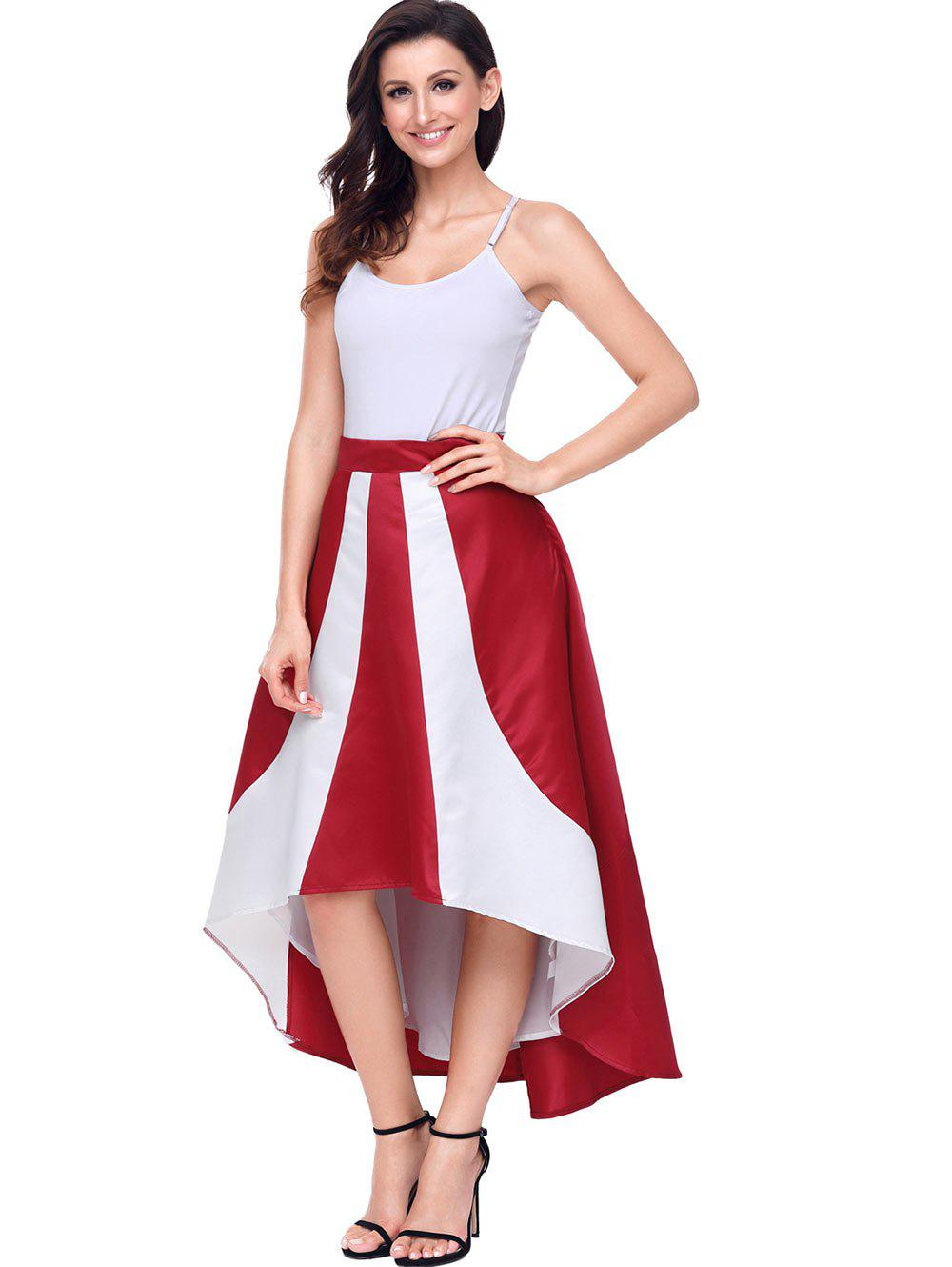 High Low Color Block Maix Skirt - RED XL