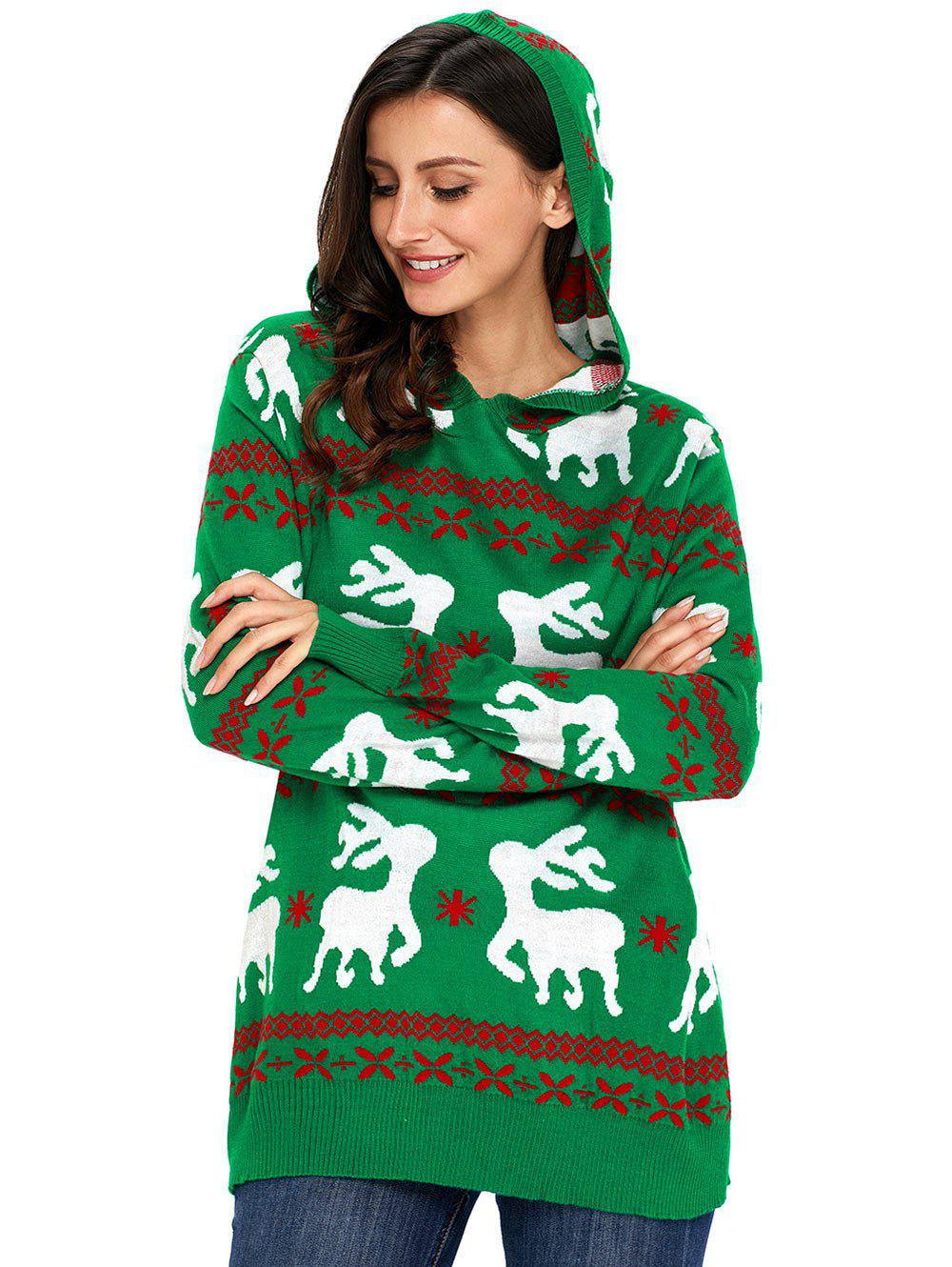 2018 Christmas Hooded Deer Jacquard Sweater GREEN L In Sweaters ...