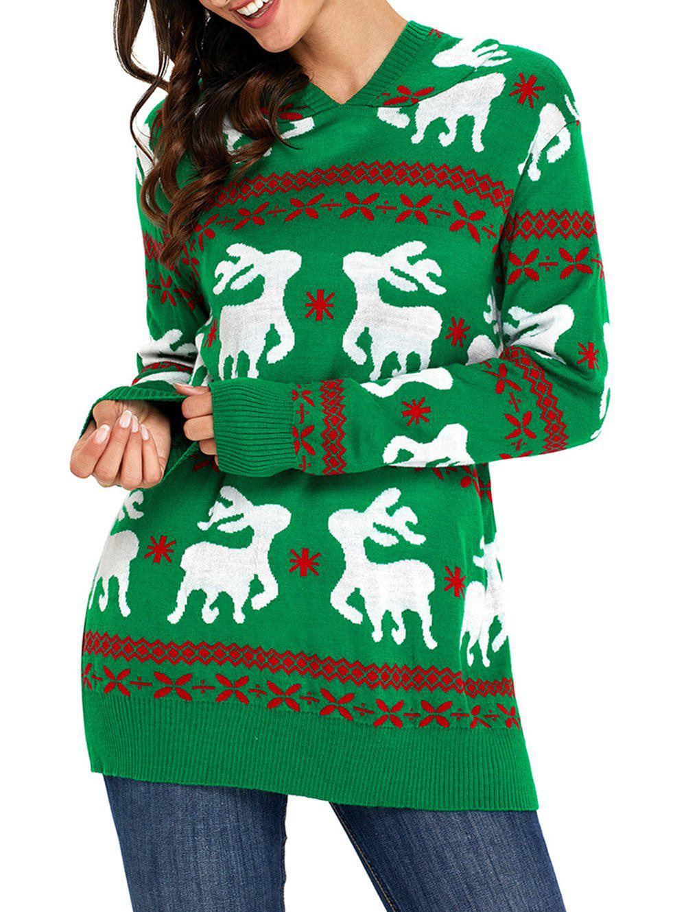 Christmas Hooded Deer Jacquard Sweater - GREEN 2XL