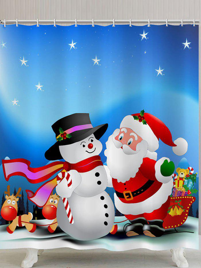 2018 Christmas Snowman and Santa Claus Printed Waterproof Shower ...